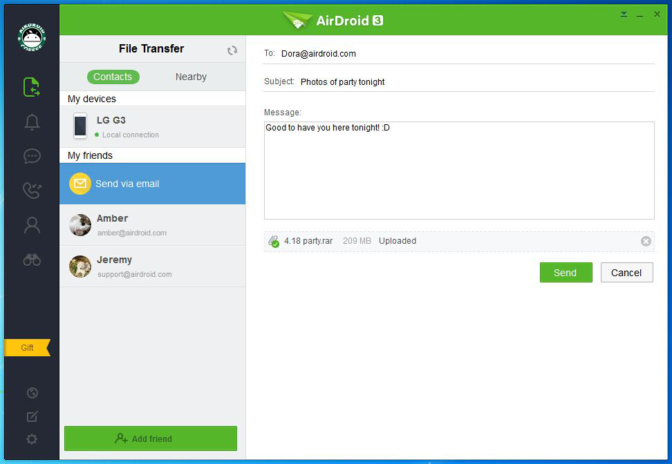 send files to non-airdroid user