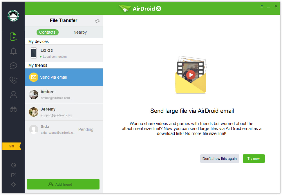 airdroid-large file email