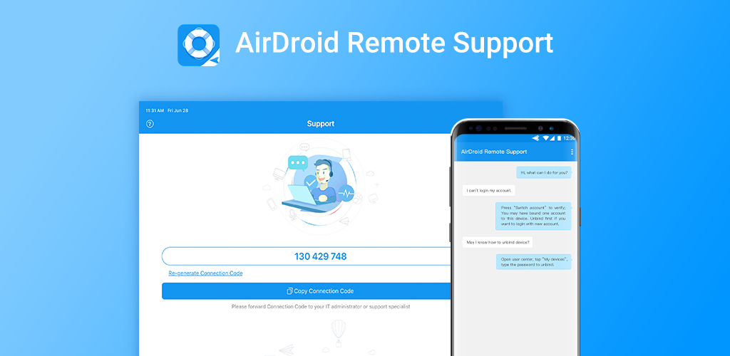 AirDroid Remote Support secure connection with 9 digit code