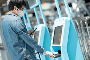 self-serving kiosk for flight check-in