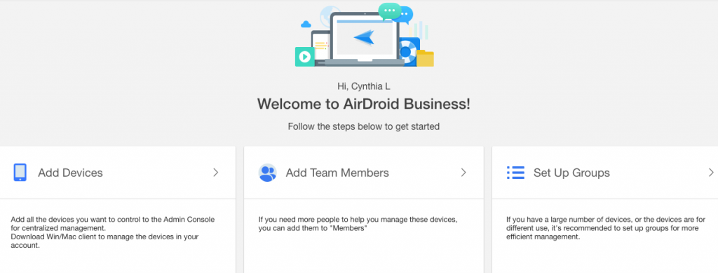 airdroid business admin console remote control shortcuts