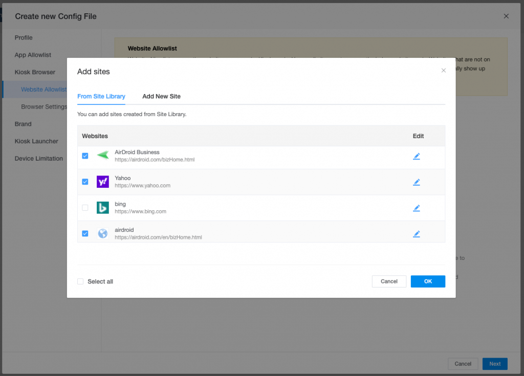 android kiosk browser and website whitelist