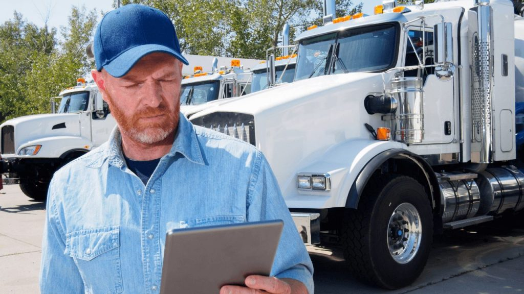 truck driver using an android tablet