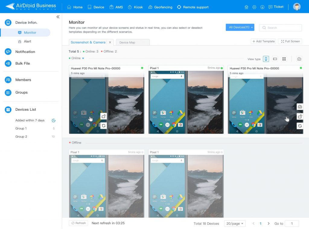 airdroid business screenshot and camera monitor template