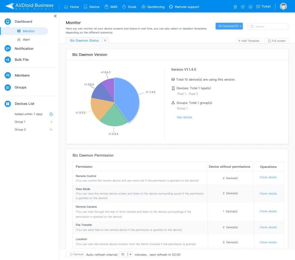 airdroid business bizdaemon status monitor template