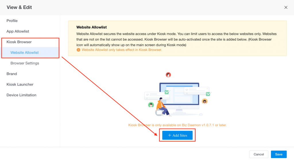 how to enable kiosk browser 1