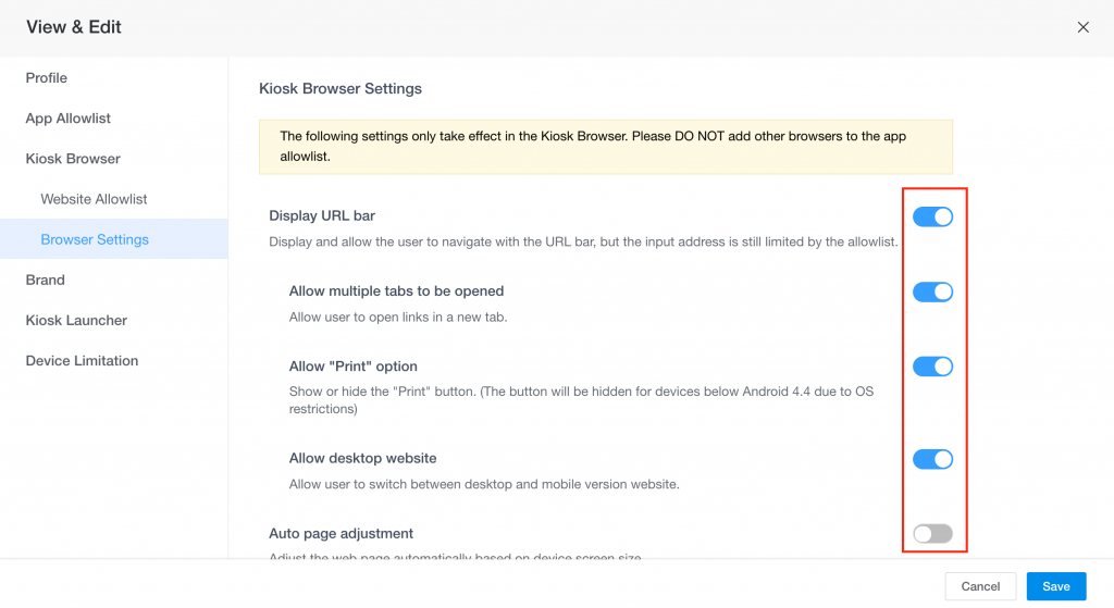 how to enable kiosk browser 2
